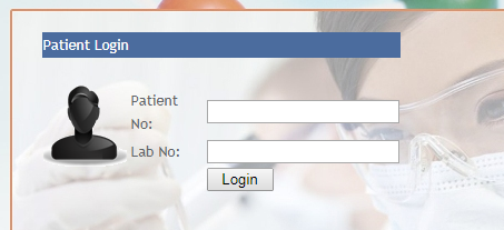 Patient Reports Login Screen